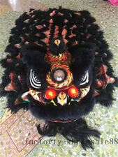 Black Lion Dance Mascot Costume Wool Southern Chinese Folk Art For Two Adults UK