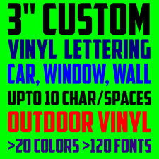 """3"""" CUSTOM VINYL LETTERING TEXT Personalized Car Window Laptop Wall Decal Sticker"""