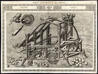 Antique Print-CATAPULT-RUBBLE-FLAMING BALL-CXCI-Ramelli-Bachot-1588