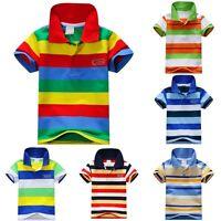 SUMMER KIDS BOYS SHORT SLEEVE STRIPY STAND COLLAR POLO SHIRT T-SHIRT TOPS 1-7Y