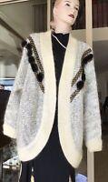 Vtg 80s Belldini Ladies Wool/Angora Trim Grey Cardigan Jacket 16/18 L