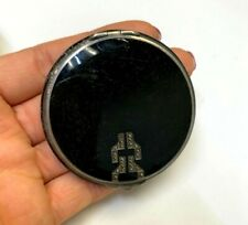 Black Enamel and Marcasite Compact Art Deco Sterling Compact