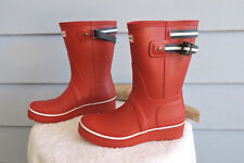 Hunter Original Short Backstrap Wedge Rain Boots Red Womens Size 7