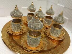 Handmade original Turkish made with silver crystal Tea set 6+ 1 tray as pic