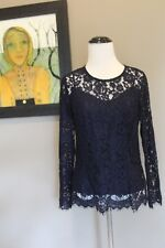 NEW J Crew Lace Top with Cami Burnished Moss NAVY Sz 0 XS H2200