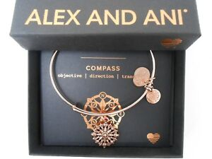 Alex and Ani Compass III Bangle Bracelet ROSE GOLD New Tag Box Card