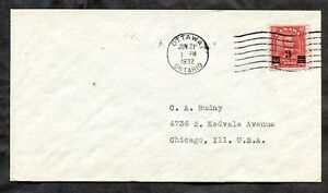 p959 - Canada 1932 FDC Cover KGV 3c Provisional