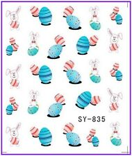 Nail Art Water Decals Stickers Transfers Easter Bunny Rabbit Eggs Chicken (835)