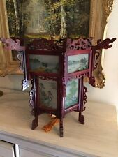 CHINESE CARVED HARDWOOD LANTERN WITH REVERSE GLASS HAND PAINTED PANELS