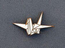 1960 White Crane Japanese ORIGAMI vintage pin Japan brooch badge RARE