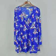 Brand New Torrid Blue Floral Mesh See through Blouse V Neck Cover UP Top