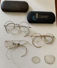 Vintage Wire Rim Glasses & Cases Lot Farmington Maine Gold Rim