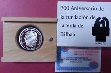 Año 2000. 2.000 Pesetas PLATA. 700 Aniversario de la Villa de BILBAO. ESCASA.