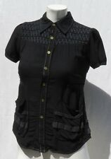 Unique DIESEL Women's Black Viscose Rayon Blouse Shirt Top size XS Pockets