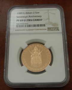 Great Britain 1989 Gold  2 Sovereigns Pounds NGC PF69UC 500th Anniversary