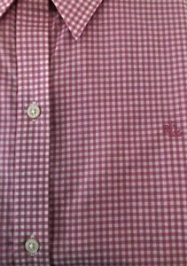 LAUREN RALPH LAUREN Pink Gingham Check Non-Iron 3/4 Slv Logo SHIRT  SIZE: Medium
