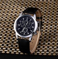 New Men's Date Sport Watch Stainless Steel Leather Analog Quartz Wrist Watch