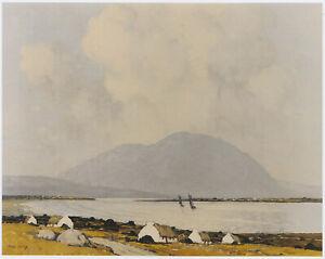 Dugurt Fishing Boats Achill Island Paul Henry print in 10 x 12 inch mount SUPERB