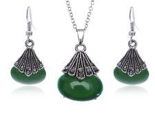Silver Tone Faux Jade Gemstone Gray Rhinestone Fashion Necklace Clr Earring Set