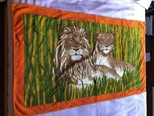 Super cool beautiful Hermes Lion Lioness Cotton Terry Coral Beach Towel
