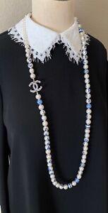 "BNIB Authentic CHANEL La Pausa White/Blue Glass Pearl Long Necklace CC Logo 45"""