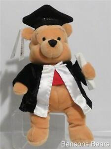 Disney Store 2002 Graduation Winnie The Pooh With Cap & Gown Bean Bag Plush