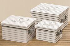 """3er Set Box """"Lucky"""" Holz Stoff mit Deckel gestreift weiß Stern L 25 - 37 cm"""