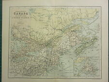 1904 Antique Map ~ Canada Eastern Provinces North-Eastern United States New York