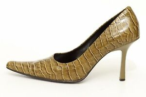 Nine West Womens Green Leather High Heels Pumps Shoes Size 6