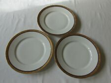 "(3) ROYAL LB BAVARIA #RYB8 18K GOLD BAND & COBALT RING 10"" DINNER PLATES"