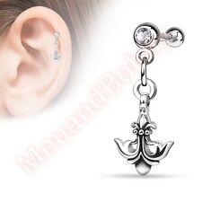 Tragus Barbell Ear Ring Body Jewellery 16G Fleur De Lis Anchor Dangle Cartilage