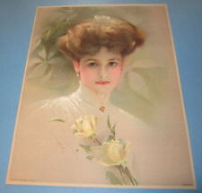 Old Vintage 1910 - Antique VICTORIAN PRINT - Fancy Lady w/ YELLOW ROSE FLOWERS
