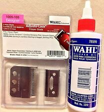 WAHL ADJUSTO-LOCK 3 HOLE CLIPPER BLADE & SCREWS #1005-100 PLUS WAHL OIL 4 OZ