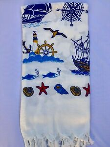Turkish Pareo Beach And Bath Towel Peshtemal  Natural Printed Viskose Cotton M-9
