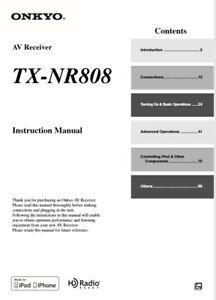 Onkyo TX-NR808  AV Receiver  Owner's Manual - Operating Instructions