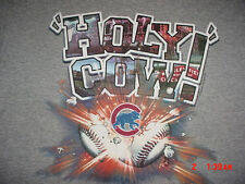 Holy Cow-Harry Carey Chicago Cubs Baseball-Wrigley Field-Gray-T-Shirt-L