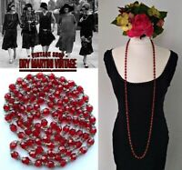 ANTIQUE ART DECO 1920s RUBY RED CZECH BEADS FLAPPER NECKLACE GATSBY DOWNTON GIFT