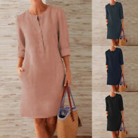 ZANZEA Women Long Sleeve Casual Plain Tunic O-Neck Cotton Midi Shift Dresses