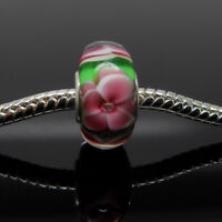Pink flower Murano Glass Handmade lampwork European Bracelet Necklace Charm Bead