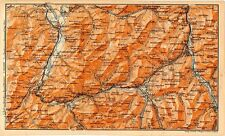 Carta geografica antica SVIZZERA Val Sarine Simme Old Map Switzerland 1905