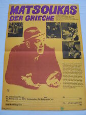 C2 w/2/14 DDR FILM MANIFESTO POSTER del film Matsoukas il greco Anthony Quinn I. Papas