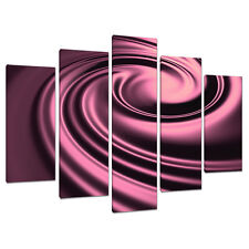 Set of Five Panel Plum Abstract Canvas Wall Art Pictures Prints 5059