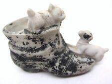 Match Holder Vintage Ceramic Shoe Cat & DOG Figural Japan Striker Heel Unusual