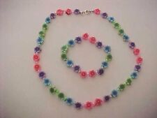 Clay Flower Bead Necklace Flower Bracelet Set of 2 Colorful Flowers 9mm