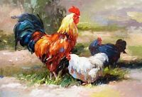 Dream-art Oil painting Poultry rooster cock with his wife hens in landscape art