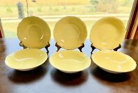"""Federalist Ironstone BUTTERCUP yellow 6 3/8"""" Soup Salad Cereal Bowls #4239"""