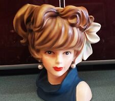 Large Vintage Lady Head Vase 7 INCH  RELPO K1695 Young Lady Teen Headvase