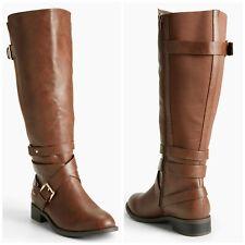 TORRID NIB Size 6.5W Brown Multi Buckle Strap Gore Tall Boots (Wide Width) #152