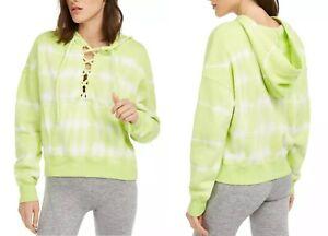 NWT-Free People Movement Believer Tie-Dye Lace Up Hoodie Sweatshirt Key Lime-M