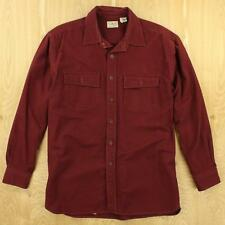LL BEAN chamois flannel camp shirt LARGE dark red burgundy missing buttons